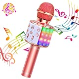 ShinePick Microphone Karaoke Sans Fil, Micro Karaoké Bluetooth Portable avec LED Lumière Disco pour Enfants/Adultes Chanter, Compatible avec Android/IOS/PC/Smartphone (Or rose)