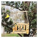 WSXEDC Gesilleur d'oiseaux Suspendus, gibre d'oiseau de siège de Jardin en Bois, Chargeur d'oiseaux de Fond en métal, Habitat d'oiseau de beauté Naturel, pour Le Porche extérieur décoratif