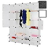 Miadomodo Armoire en Plastique - Portable, 16 Cubes Fermés et 2 Ouverts avec 2 Tiges Suspendues, 145x180x37 cm, Blanc - Penderie Modulable, Placard pour Vêtements, Accessoires