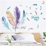 Chambre Salon Armoire Stickers Muraux Princesse Chambre Papier Peint Créative Fille Chambre Auto-Adhésif Plume Porte Autocollants
