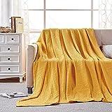 softan Couverture et couvre-lit 100 % pur coton gaufré extra doux et confortable pour lit simple 150 x 200 cm Jaune