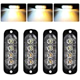 4pcs 12-24V Ultra Mince Voyant Barre D'alarme Stroboscopique d'urgence Lampe- 4 LEDS Bande lumineuse D'avertissement de Flash Camion Moto Voiture - Ambre & Blanc