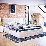 Home Discount Veronica King Size Lit en Tissu Ottoman Lit Coffre de Rangement Cadre de lit, 1,5m Lift capitonnée Meubles de Chambre à Coucher, Oyster en Velours
