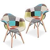 Mc Haus AURA Patchwork - Lot de 2 chaises de salle à manger tapissé de tissu patchwork multicolore vintage salon cuisine avec pieds en bois massif 54x64x80cm