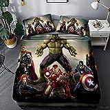 SSIN Marvel Avengers Parure de lit avec housse de couette pour lit simple, double, king size, Hulk, Spiderman, Iron Man imprimée, en microfibre pour garçons et filles (C9, 135 x 200 cm)