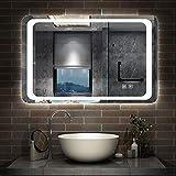 AICA sanitaire Miroir de Salle de Bain 80x60cm Anti-buée Miroir Mural avec éclairage LED modèle Classique Plus