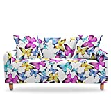 LucklyingBao Housses De Canapé Abstract Animal Yellow Blue Butterfly Elastic Slipcover Cover,1/2/3/4 Seater Couch Cover Stretch Stretch L Shaped Armchair Cover for Living Room,2Pcs Pillow Case