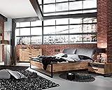 PEGANE Lit futon Adulte avec tête de lit rembourré et 2 chevets Imitation chêne Poutre rechampis raw Steel - 180 x 200 cm