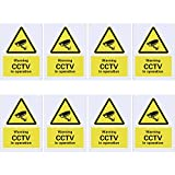 8 Pack Panneaux de Sécurité Panneau de Dissuasion Panneau sous Vidéo CCTV in Operation Signs, Panneaux en Plastique pour l'Extérieur, 100 x 75 mm