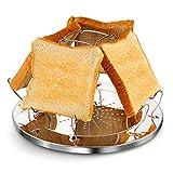 YIKATU Support pour grille-pain en acier inoxydable - Portable - Pliable - Multifonction - Plaque perforée - Plaque de cuisson à la vapeur - Pour la cuisine familiale, les pique-niques en plein air