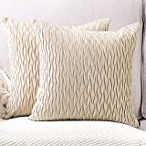 Madizz 2 pcs Doux Peluche Velours Décoratif Housses de Coussin Luxe Style pour canapé Chambre Beige 55 x 55 cm