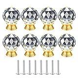 Lot de 8 boutons de tiroir ronds en cristal - 30 mm - Pour armoire, tiroir, porte, garde-robe - Décoration pour tiroirs, armoires, chambre à coucher, salon