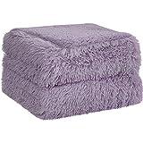PiccoCasa Couverture en Fausse Fourrure Hirsute Doux et Chaud Sherpa Inversé pour Canapé-Lit Violet 160 x 203 cm