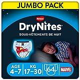 Huggies DryNites, Sous-vêtements de nuit absorbants jetables, Pour garçons, Taille: 4-7 ans, 64 culottes