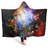 XCNGG Couverture à Capuche Couverture de climatisation à Capuche Hooded Blanket Throw Galaxy Dark & Colorful Orion Nebula Super Soft Sherpa Fleece Blanket Hood Poncho Cloak Cape