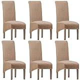Housses de chaise en élasthanne élastique XL pour salle à manger, housses de chaise en jacquard extensibles amovibles et lavables pour cuisine, bar, hôtel et mariage (Camel, taille XL) (lot de 6)