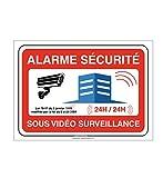 AUA SIGNALETIQUE - Panneau Alarme sécurité sous vidéo Surveillance 24h/24-300x210 mm, Aluminium 3 mm