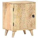 vidaXL Bois de Manguier Massif Table de Chevet Sculptée Armoire de Chevet avec 1 Porte Table de Nuit Armoire de Lit Chambre à Coucher 40x30x50 cm