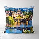 ASFDF Housse de Coussin de tête de taie d'oreiller imprimée de Prague (16x16 Pouces) Cadeau de décoration de canapé de lit