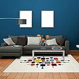 Jadorel Tapis Design et Moderne 160x230 cm Rectangulaire DOURTA Multicolore Salon adapté au Chauffage par Le Sol
