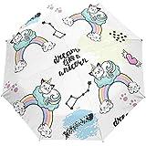 Mignon Chat Arc en Ciel Animal Automatique Parapluie Ouvert Soleil Pluie Parapluie Anti UV Pliant Compact Automatique Parapluie