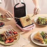 Sandwich Machine Petit-déjeuner Machine Home Light Food Machine Machine Machine Multi-Fonction Chauffage Grille-pain, Easy Clean, Rose zhuang94