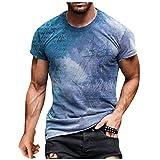 Yowablo Top T-Shirt Hommes D'été Décontracté Imprimé 3D Chemisier À Col Rond À Manches Courtes (S,2Bleu)