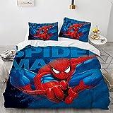 Spiderman Housse De Couette 220X260 Cm Polyester Coton Parure De Lit 3 Pièces Doux Confortable Housse De Couette Pas Cher avec 2 Taies d'oreiller 50X90 Cm