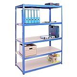 Etagère de rangement pour Garage, 180cm x 120cm x 60cm (Bleu) – 5 Étagère, Capacité de 875kg (175kg par Étagère) – très résistant, Charge lourde