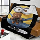 Mi-Nio-Ns Couverture en flanelle polaire douce et légère, chaude et confortable pour canapé/chaise/canapé 127 x 102 cm