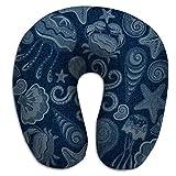 Oreiller en Forme de U en Mousse à mémoire de Forme, Oreiller de Repos de Voyage nouveauté Jeans en Jean Papillons Jeans Bleus coquilles de mer en Tissu Crabe étoile de mer méduse Filigrane PLW-1040