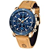 Montre Homme SAPPHERO Chronographe de Mouvement à Quartz 30M étanche Date Analogique Montres Cuir Bracelet Militaire de Sport de Mode Cadeau Elegant