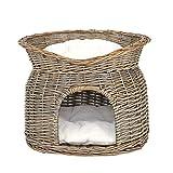 lionto by dibea Corbeille osier pour chats grotte pour chats corbeille coussin 55x39x43 cm Gris