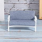 Canapé Miniature de Maison de poupée modèle de Mini Meubles de Bouleau et de Tissu pour Attirer Les Filles(White Fu Blue Grey)