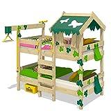 WICKEY Lit superposé CrAzY Ivy Lit de jeu pour 2 enfants Lit double avec toit, échelle d'escalade et sommier à lattes, vert-vert pomme, 90x200 cm