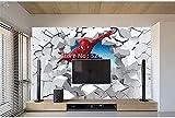 Papier peint Spiderman personnalisé 3D dessin animé mur cassé Photo murale salon chambre d'enfants peinture murale étanche autocollant 3D