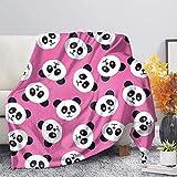 Hugs Idea Couverture réversible ultra douce et légère pour lit ou canapé, Polyester, Tête de panda, Small (70 X 54 Inches / 180 X 140 CM)