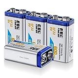EBL 4 Piles 9V Rechargeables 600mAh Lithium-ION 6F22 Grande Capacité pour Détecteur de Fumée, Détecteur CO, Multimètre, Microphone, Jouets Electroniques, etc.