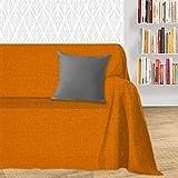 Byour3®️ Housse De Canapé 1 2 3 4 Place Coton ARTISANAL Couvre Sofa D'Angle Avec Ou Sans Accoudoirs Relax Foulard Lavable Housses Canapés Péninsule Droite Gauche (Orange Dakar, 4 places)