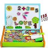 Nuheby Puzzle Enfant Bois Magnétique,Jouet en Bois Puzzle Enfant 3 4 5 Ans Garcon Fille,Tableau Double Face Chevalet Jeu Montessori Educatif(135 Pièces)