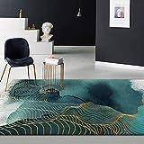 Qutdoor-QJ Tapis Chambre Salon séjour Décoration d'intérieur Encre Abstraite Verte Ligne Or Canapé Table Basse Table Chambre Lavable Antidérapant Rug 60X90CM