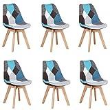 Lot de 2/4/6 Chaises en Pacthwork Chaises de Salle à Manger Pieds en Bois Massif de hêtre (Bleu, 6)