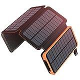 A ADDTOP Chargeur Solaire 25000mAh Portable Batterie Externe avec 4 Panneaux Imperméable Power Bank avec 2 USB Outdoor Camping pour Téléphone Tablettes