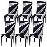 Housse de chaise Luzoeo - Housse de chaise - Stretch - Lavable - Pour salle à manger - Housse de chaise, Microfibre, Temps géométrique, 6er Set