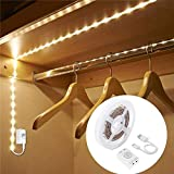 LUXJET Ruban LED Détecteur de Mouvement, 1M Rechargeable Lampe de Placard,LED Detecteur Mouvement pour Penderie/Étagère/Entrée/Garage/CU (1M)