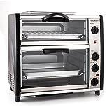 oneConcept All-You-Can-Eat - Four grill, Four électrique, Four double, 42L au total, 2400W, Température réglable, 60-240°, Timers, 2x plaques, Fenêtre large, Broche, Poids 7kg, Argent
