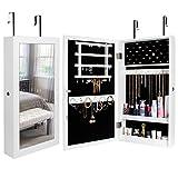 Yorbay Armoire à Bijoux avec Miroir, Armoire de Rangement Mural avec Serrure, Armoire Accrochée à la Porte (blanc)