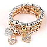 LIIYANN Bracelet à Breloques dorées Bracelet à Breloques pour Femmes (19-22 cm) 18 Plaqué Or Rose (Couleur: A) Cadeau