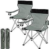 TecTake Chaise de Camping Fauteuil Pliable avec Porte-Boisson et Sac de Transport - diverses Couleurs et quantités au Choix - (2X Noir-Gris | no. 401248)