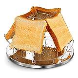 DIFCUL Recharges de Réchaud de Camping Pliante Grille-Pain, 4 Slice Toaster Plateau Porte-Toast Réchaud Grille-Pain, pour Famille Camping en Plein Air Pique-Nique Grille-Pain Pliable